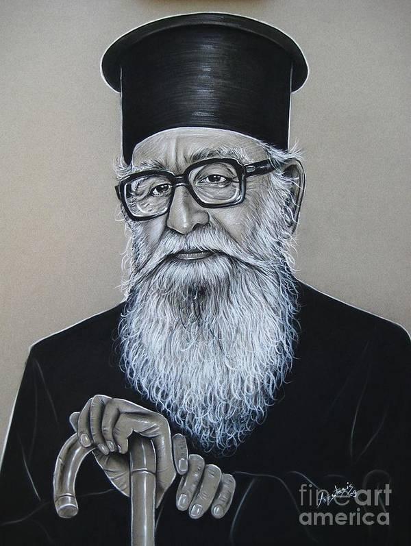 Priest Poster featuring the painting Cypriot Priest by Anastasis Anastasi