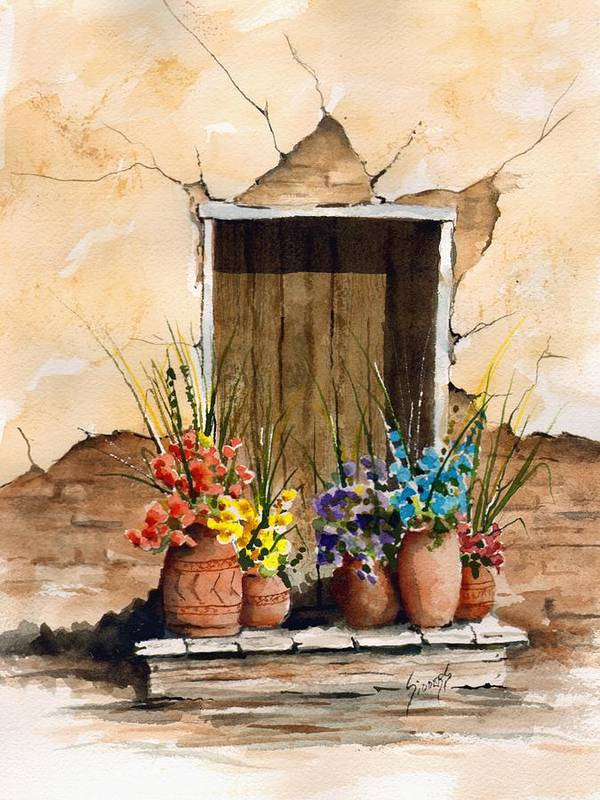 Door Poster featuring the painting Door With Flower Pots by Sam Sidders