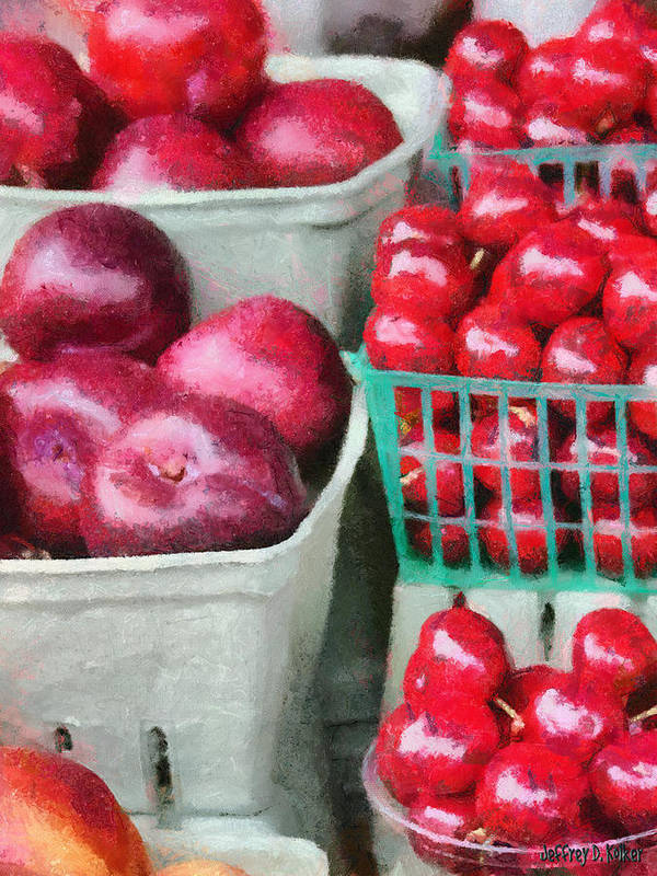 Apple Poster featuring the painting Fresh Market Fruit by Jeff Kolker