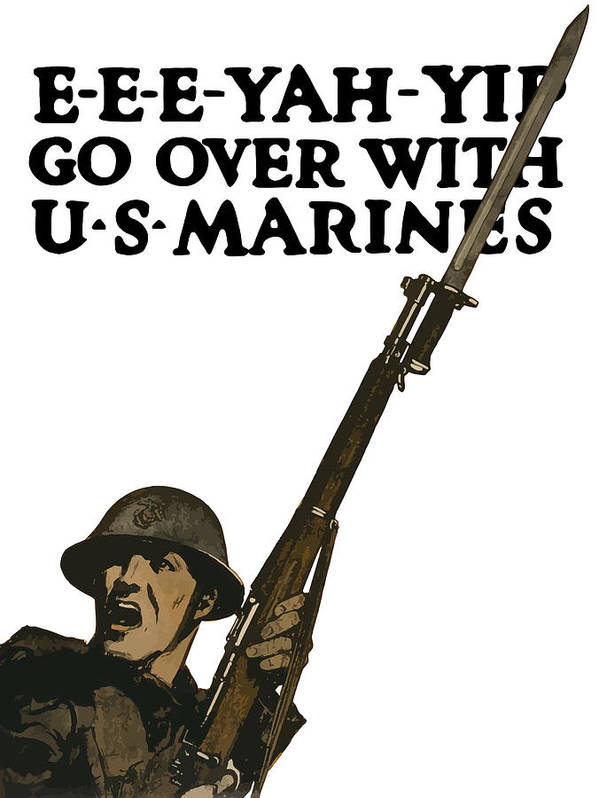 Marine Recruiting Poster featuring the painting Go Over With Us Marines by War Is Hell Store