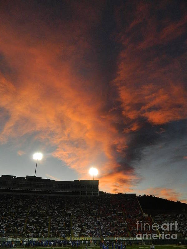 Fort Collins Poster featuring the photograph Hughes Stadium Sunset by Sara Mayer