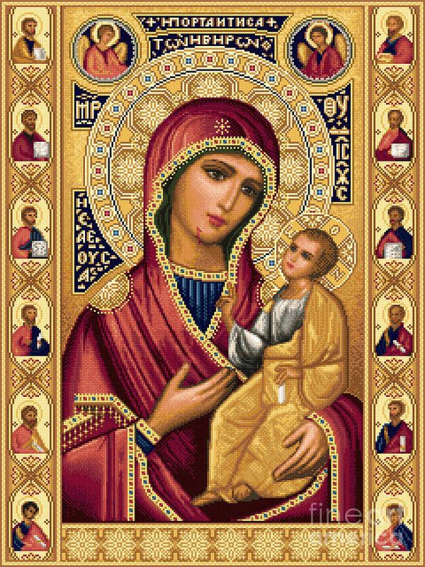 Theotokos Virgin Mary Bethlehem Orthodox Smiling Jesus Child Russian Needlework Poster featuring the tapestry - textile Iveron Theotokos by Stoyanka Ivanova