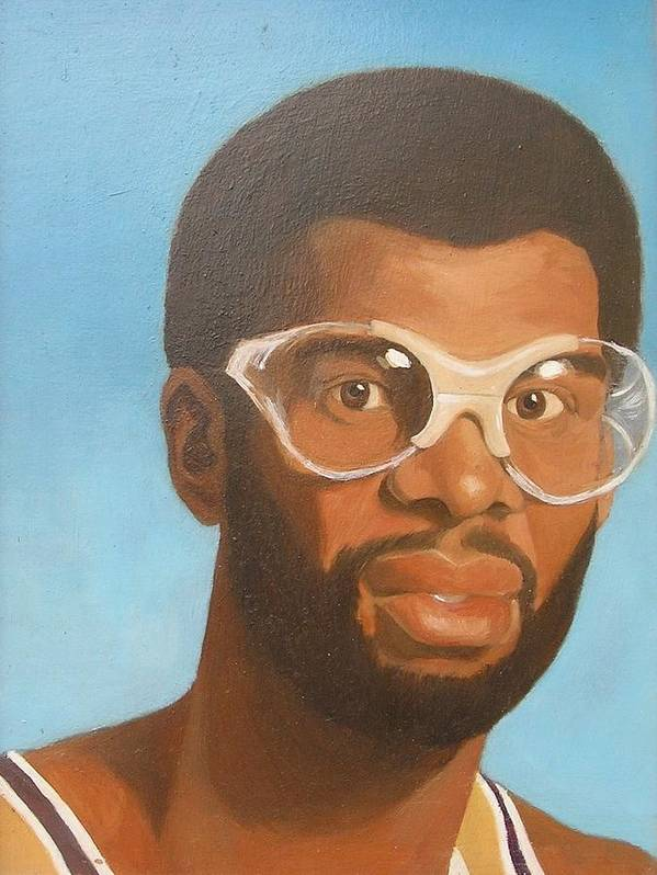 Sports Celebrities Portraits Poster featuring the painting Kareem by Nigel Wynter