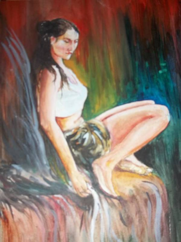 Girl Poster featuring the painting Loneliness Makes The Beauty by Sumanta Bose