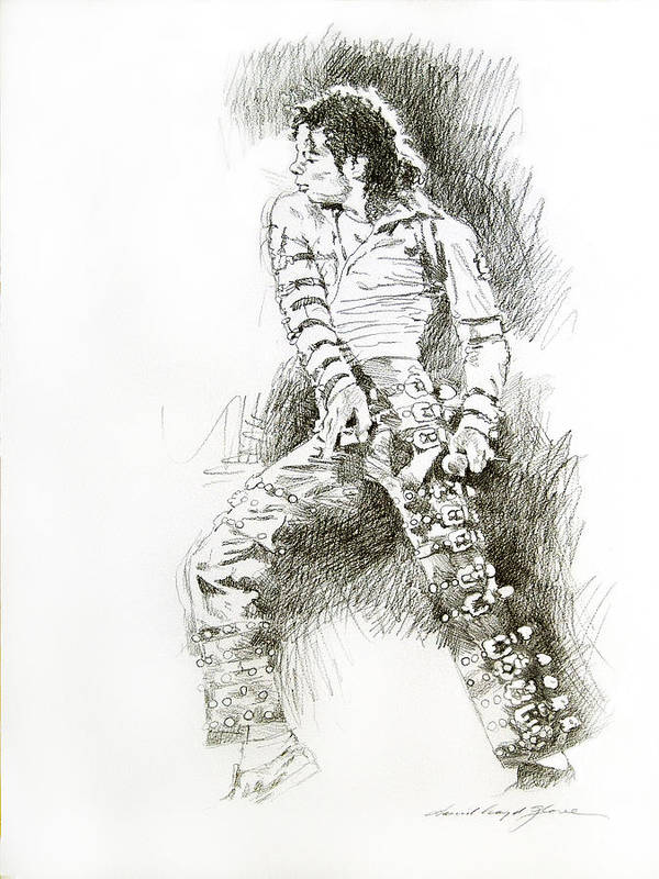 Michael Jackson Poster featuring the drawing Michael Jackson - Onstage by David Lloyd Glover