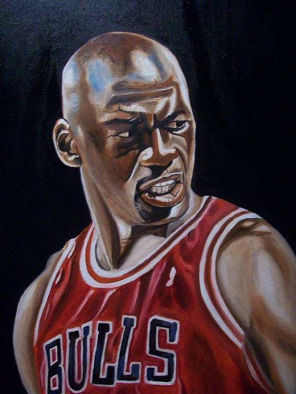 Michael Jordan Painting Poster featuring the painting Michael Jordan by Mikayla Ziegler