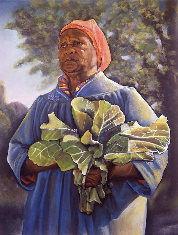 Women Poster featuring the pastel Miss Emma's Collard Greens by Curtis James