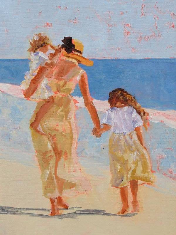 Woman Poster featuring the painting Mother And Two Daughters by Molly Wright