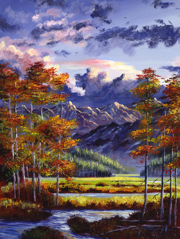 Mountains Poster featuring the painting Mountain River Valley by David Lloyd Glover