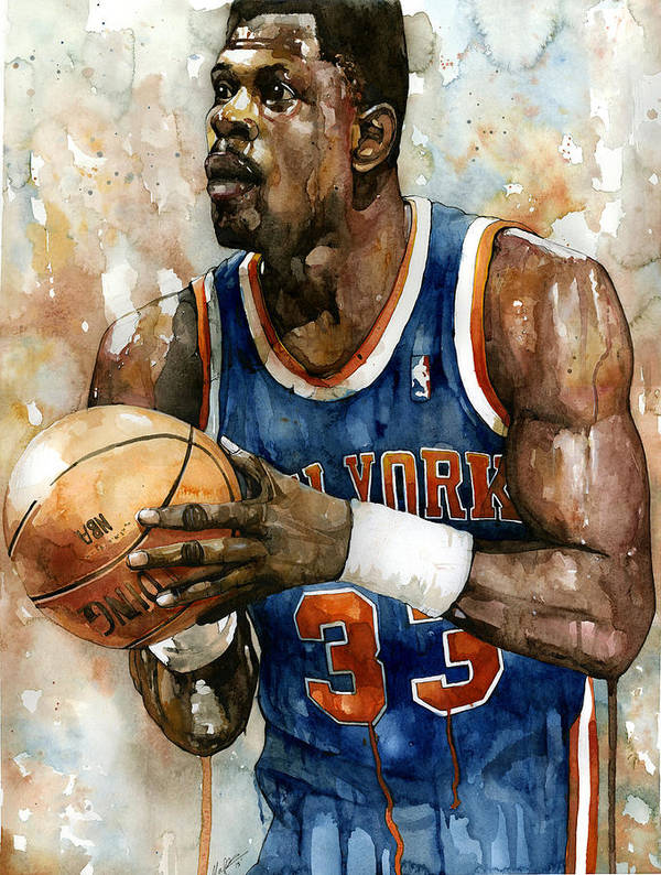 Patrick Ewing Poster featuring the painting Patrick Ewing by Michael Pattison