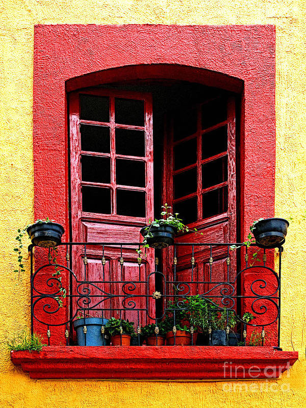 Tlaquepaque Poster featuring the photograph Red Window by Mexicolors Art Photography