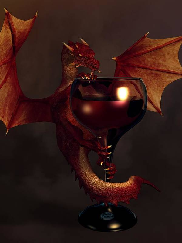 Wine Poster featuring the digital art Red Wine Dragon by Daniel Eskridge