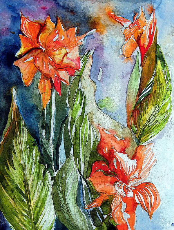Gladiolas Poster featuring the painting Summer Glads by Mindy Newman