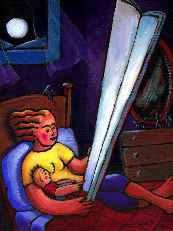 Moonlight Poster featuring the painting Telling Tall Tales by Angela Treat Lyon