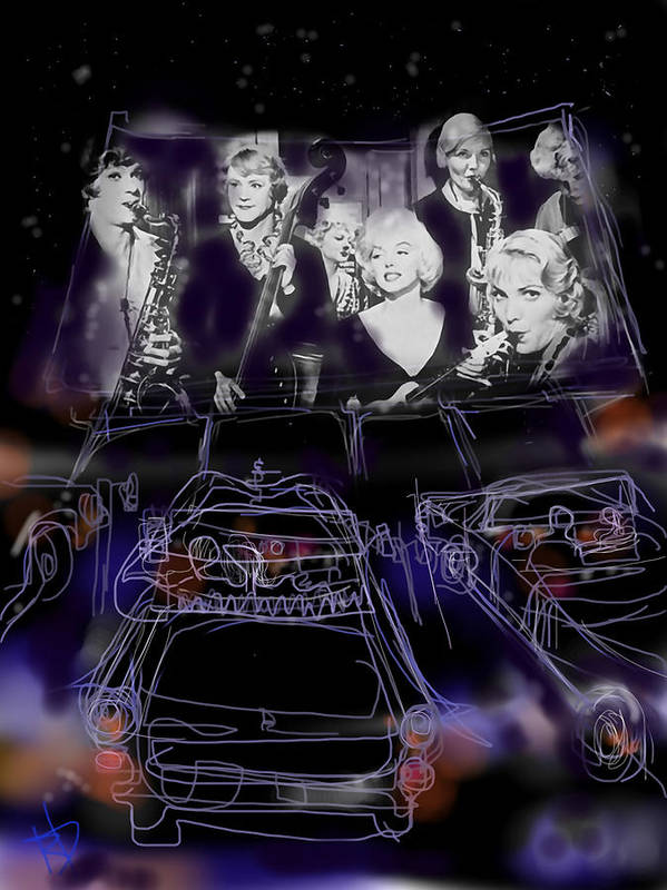 Drive In Poster featuring the digital art The Drive In by Russell Pierce