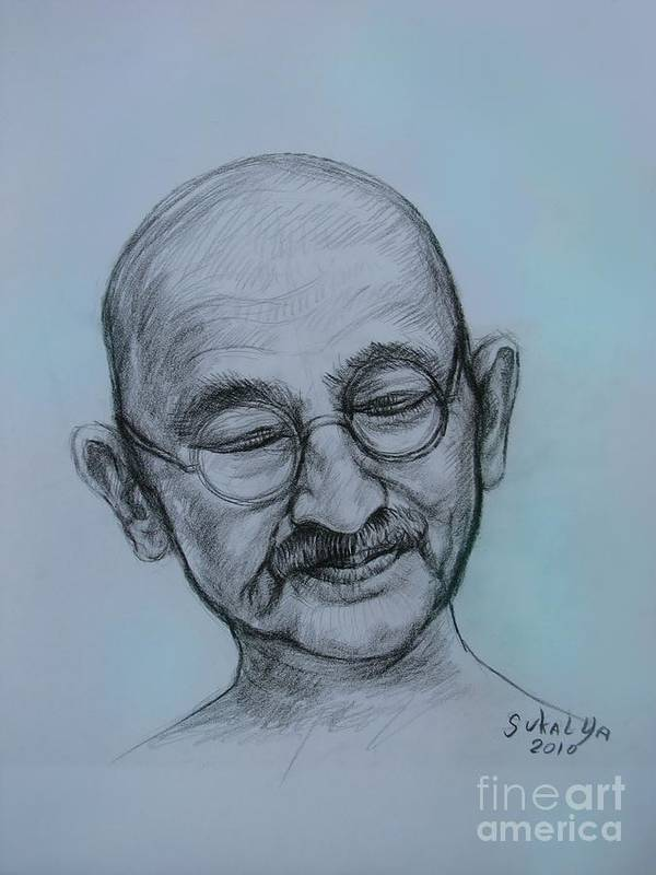Head Poster featuring the drawing The Gandhi Head by Sukalya Chearanantana
