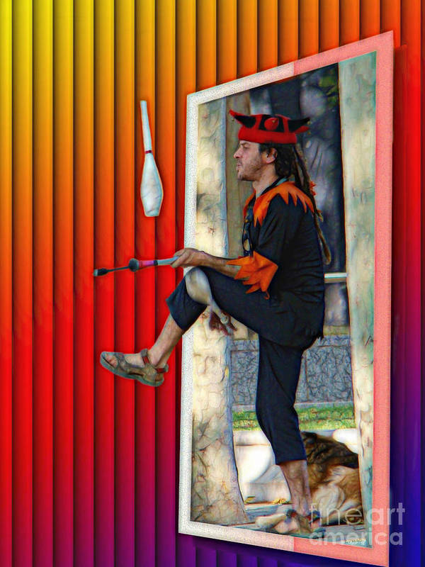Surrealism Poster featuring the digital art The Juggler by Sue Melvin