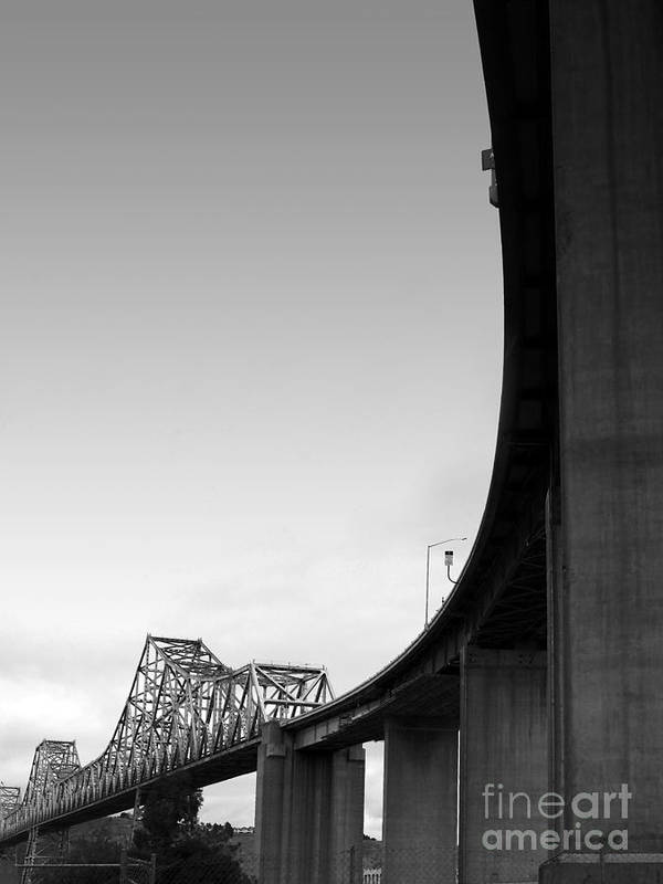 Transportation Poster featuring the photograph The Old Carquinez Bridge . Black And White . 7d8832 by Wingsdomain Art and Photography