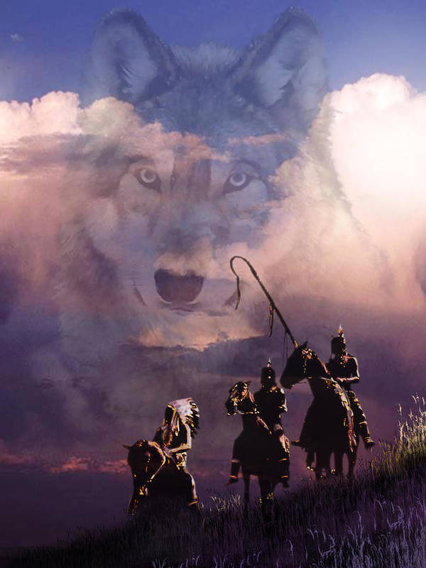 Native Americans Poster featuring the painting The Wolf by Paul Sachtleben