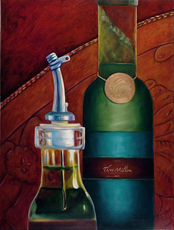 Olive Oil Poster featuring the painting Three Million Net by Shannon Grissom