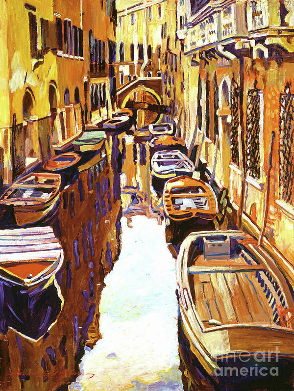 Impressionist Poster featuring the painting Venice Canal by David Lloyd Glover