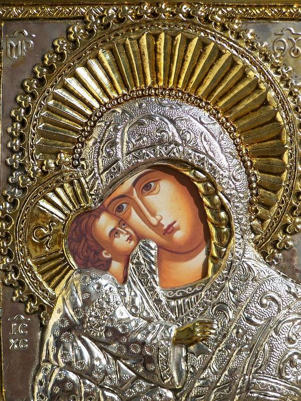 Icon Poster featuring the photograph Virgin Mary With Child Jesus Greek Icon by Jake Hartz