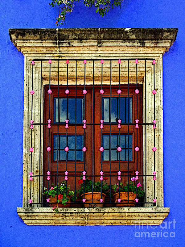 Tlaquepaque Poster featuring the photograph Window In Blue With Baubles by Mexicolors Art Photography