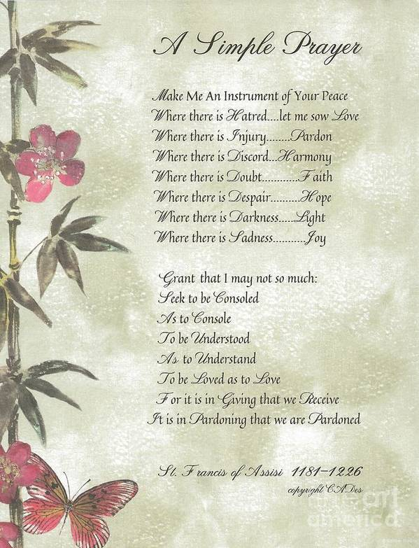 St. Francis Poster featuring the mixed media Pope Francis St. Francis Simple Prayer Butterfly Garden by Desiderata Gallery