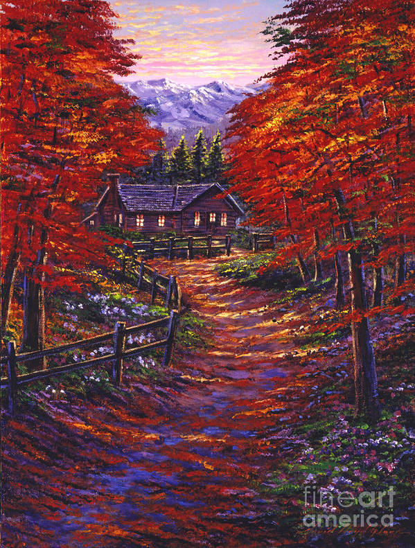 Landscape Poster featuring the painting 1133 Friendly House by David Lloyd Glover