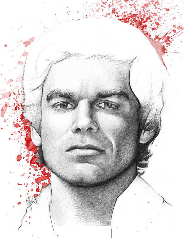 Dexter Poster featuring the drawing Dexter Morgan by Olga Shvartsur