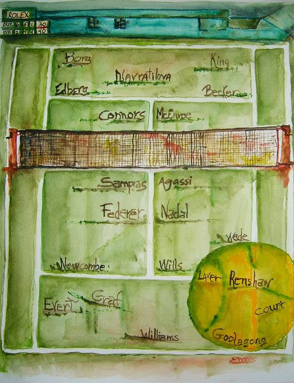 Tennis Poster featuring the painting Grass Greats by Elaine Duras