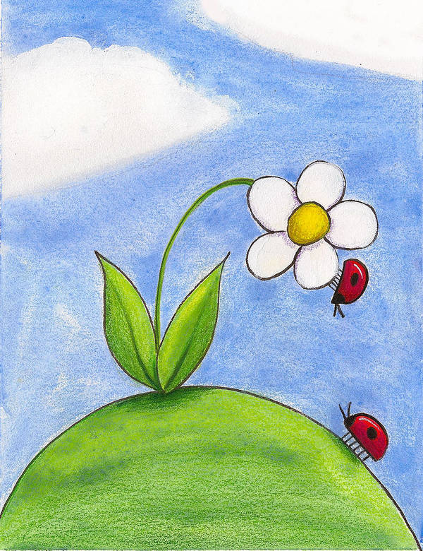 Lady Bug Poster featuring the painting Lady Bug Love by Christy Beckwith