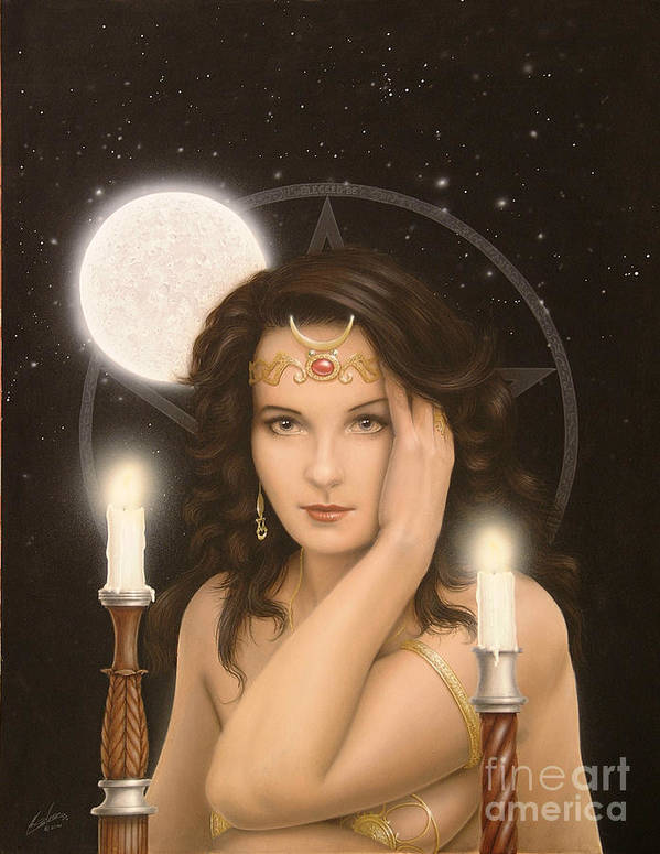 Paintings Poster featuring the painting Moon Priestess by John Silver