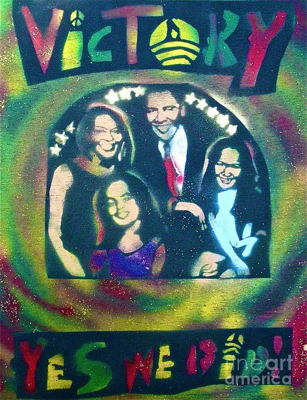 Barack Obama Poster featuring the painting Obama Family Victory by Tony B Conscious