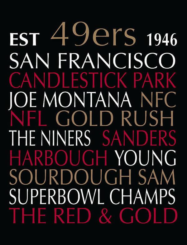 Subway Art Poster featuring the digital art San Francisco 49ers by Jaime Friedman