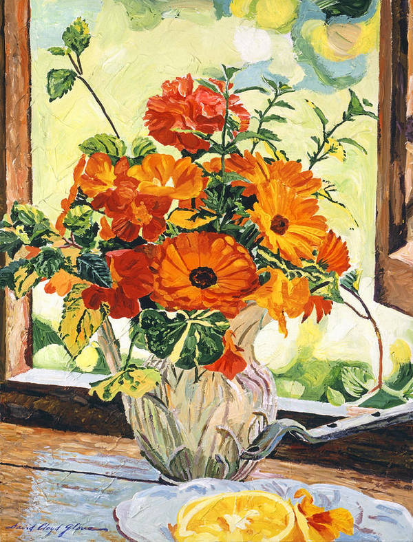 Still Life Poster featuring the painting Summer House Still Life by David Lloyd Glover
