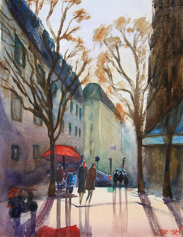 Paris Poster featuring the painting Winter In Paris by Lior Ohayon