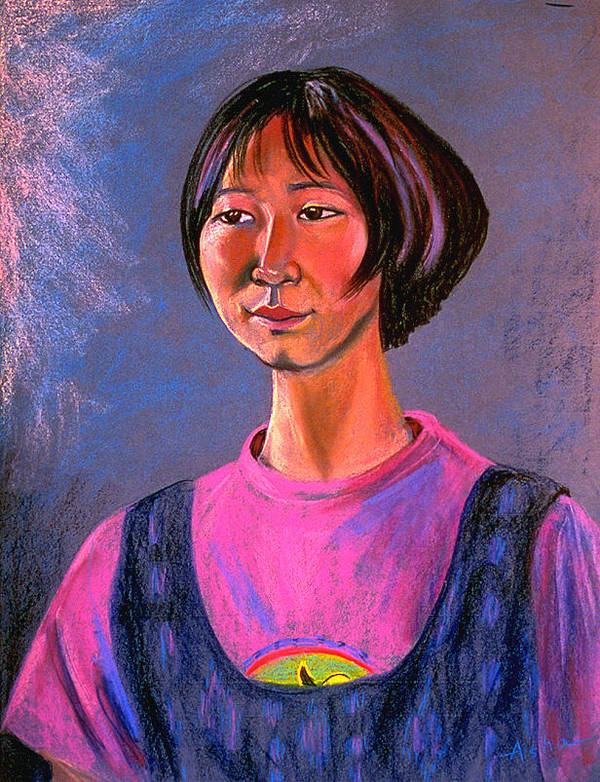Pastel Portrait Painting Poster featuring the painting World Traveler For Peace by Asha Carolyn Young