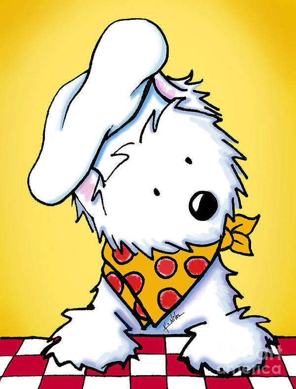 Westie Poster featuring the drawing You Wanna Pizza Me II by Kim Niles