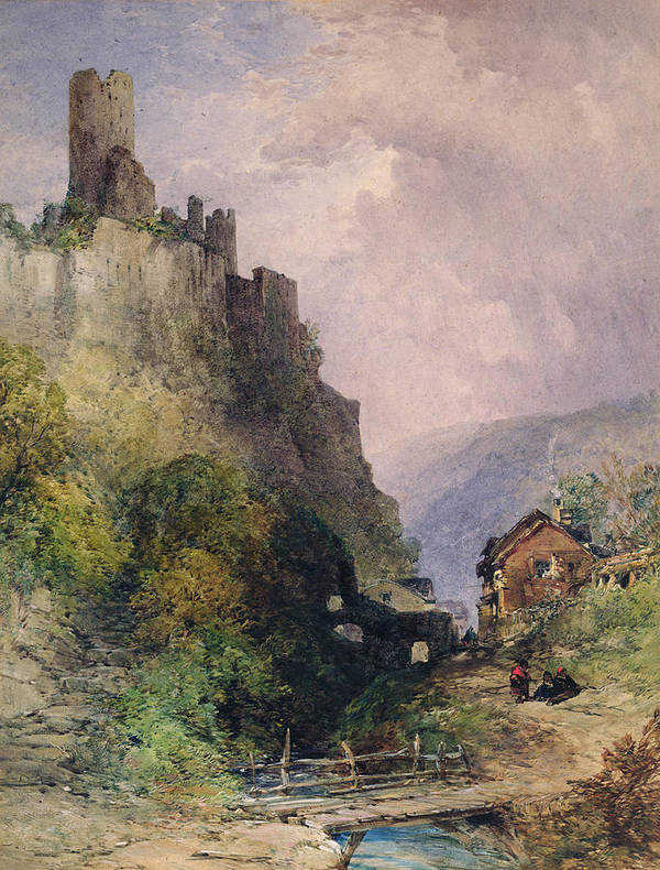 The Castle Of Katz On The Rhine Poster featuring the painting The Castle Of Katz On The Rhine by William Callow
