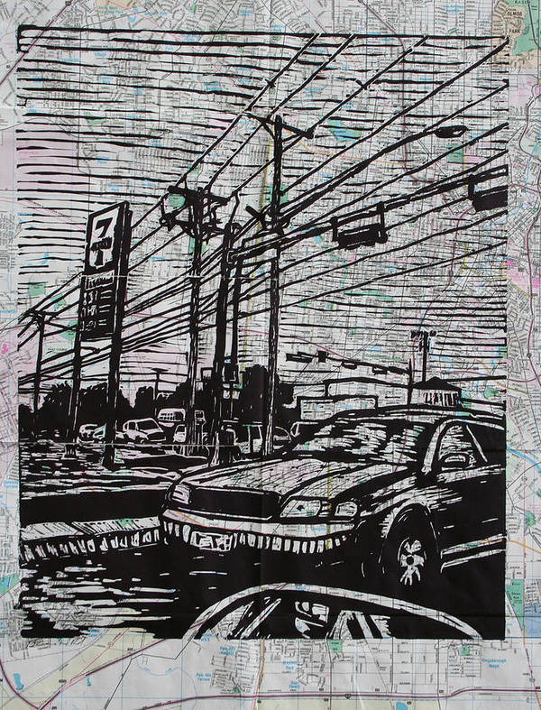 Lino Poster featuring the drawing Burnet Road by William Cauthern