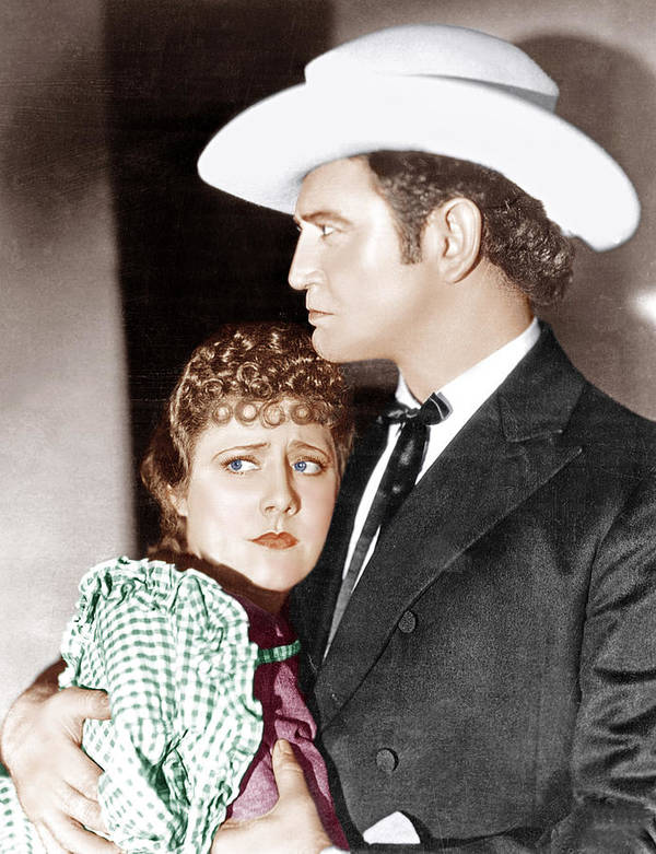 Cowboy Hat Poster featuring the photograph Cimarron, From Left Irene Dunne by Everett