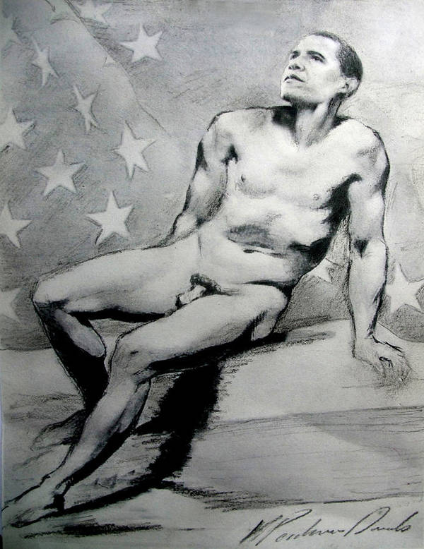 President Us Poster featuring the drawing President Barack Obama Nude Study by Karine Percheron-Daniels
