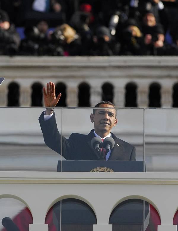 History Poster featuring the photograph President Obama Gestures As He Delivers by Everett