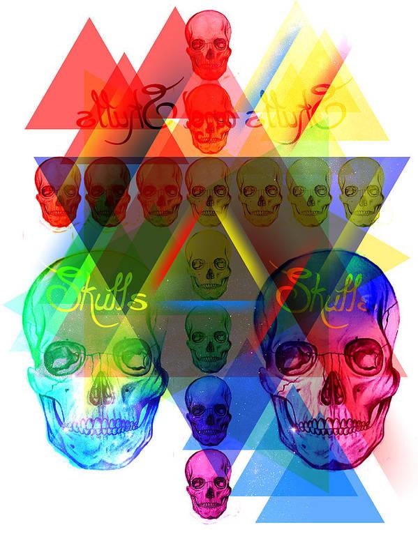 Skulls Illuminate Skulls Poster featuring the drawing Skulls Illuminate Skulls by Pierre Louis