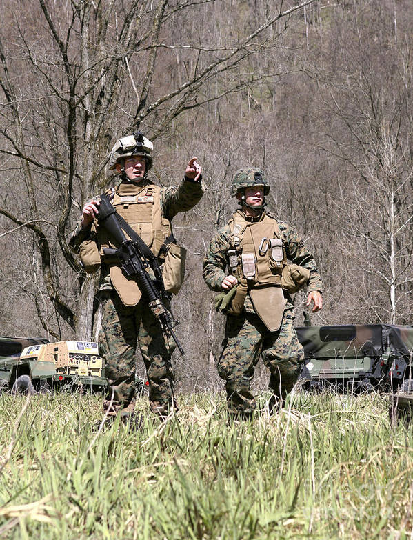 West Virginia Poster featuring the photograph Soldiers Perform A Site Survey In Camp by Stocktrek Images