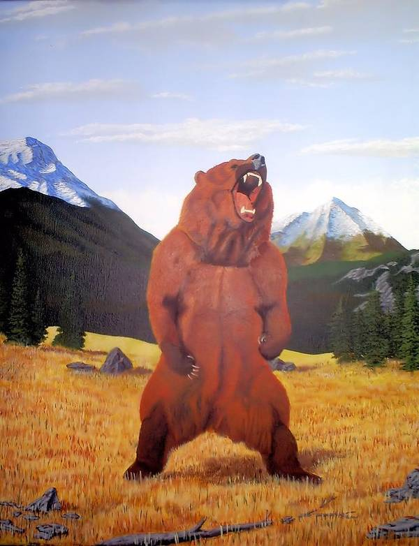 Landscape Poster featuring the painting Standing Grizzly by Mickael Bruce