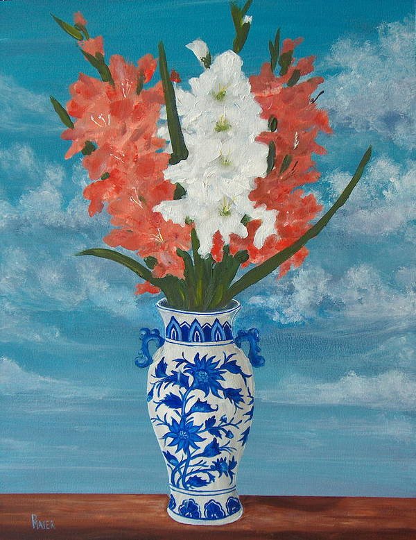 Gladiolas Poster featuring the painting Apricot Glads by Pete Maier