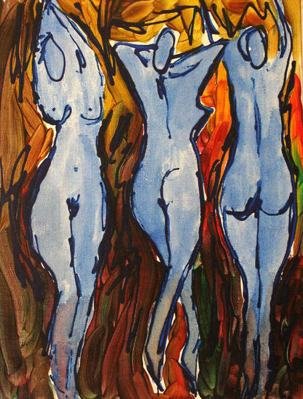 Nude Poster featuring the painting Blue Dancers by Romina Diaz-Brarda