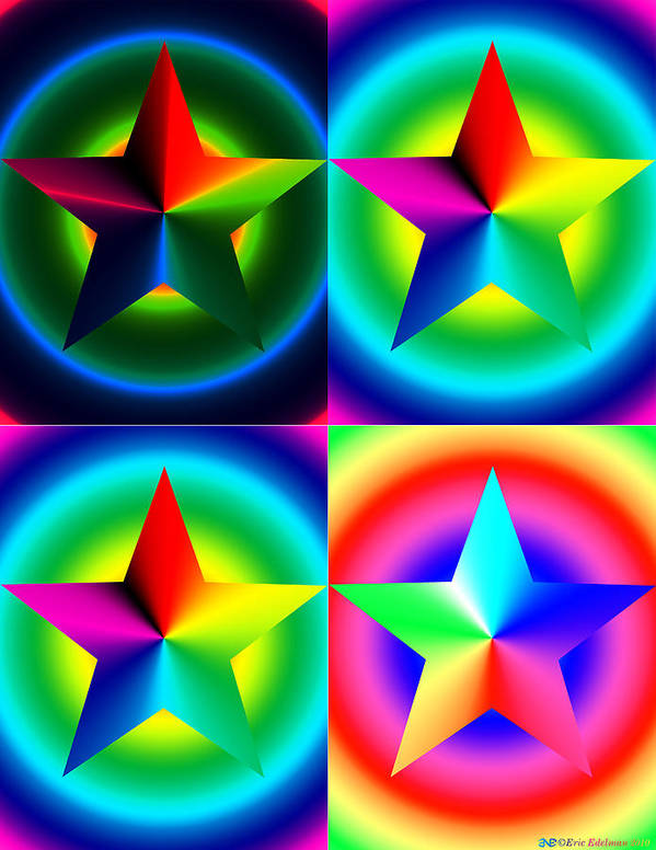 Pentacle Poster featuring the digital art Chromatic Star Quartet With Ring Gradients by Eric Edelman